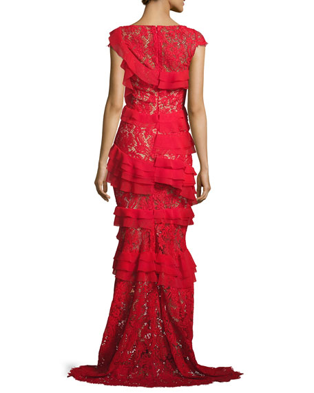 Northcliff Cap-Sleeve Tiered-Ruffle Lace Gown, Red