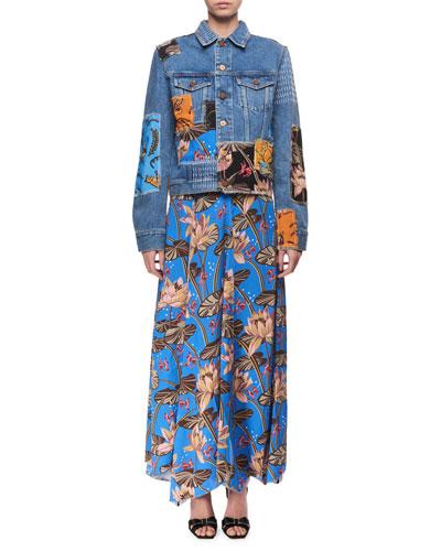 Printed Patchwork Denim Jacket, Blue Pattern