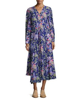 Printed V-Neck Midi Dress, Black/Purple