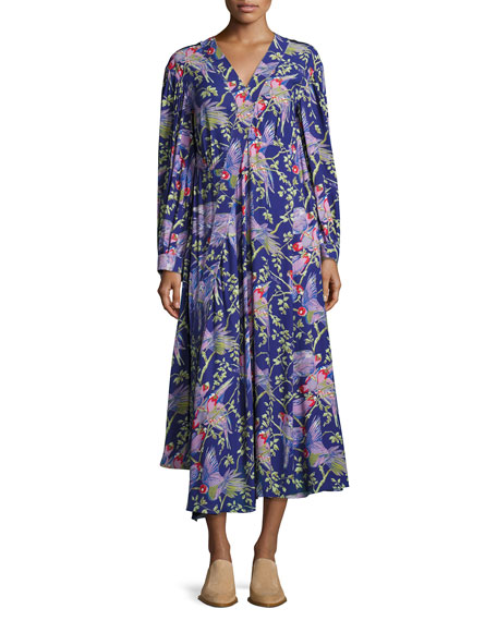 Printed V-Neck Midi Dress, Black/Purple
