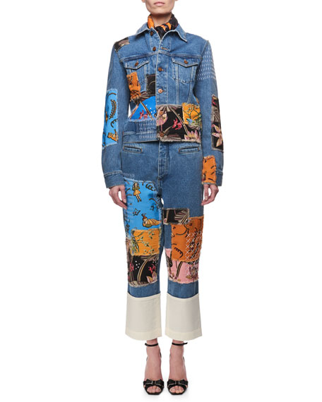 Printed Patchwork Denim Jeans, Blue Pattern
