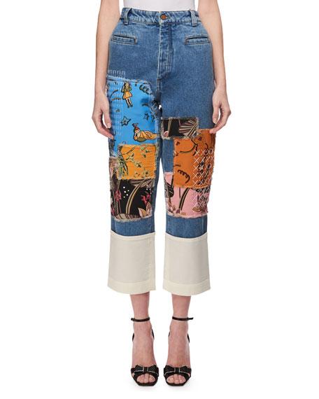 Printed Patchwork Denim Jeans, Blue Pattern