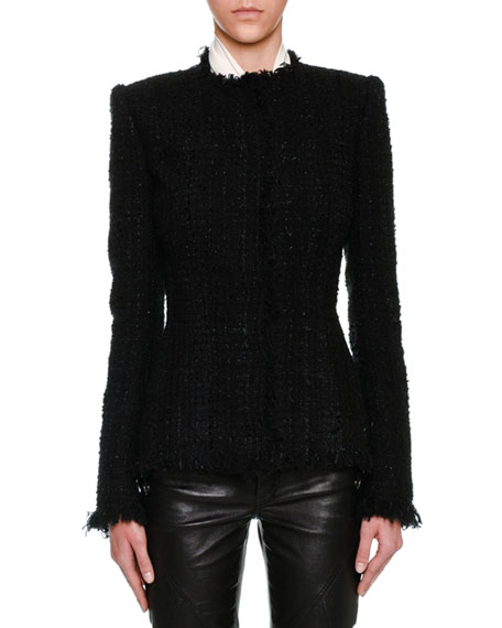 Alexander McQueen Metallic Tweed Fringe-Trim Jacket, Black