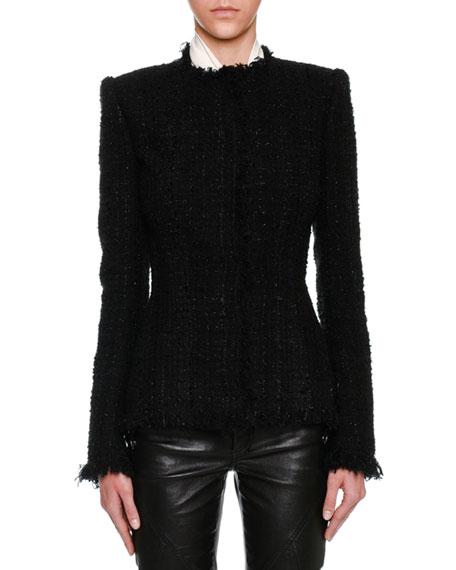Metallic Tweed Fringe-Trim Jacket, Black