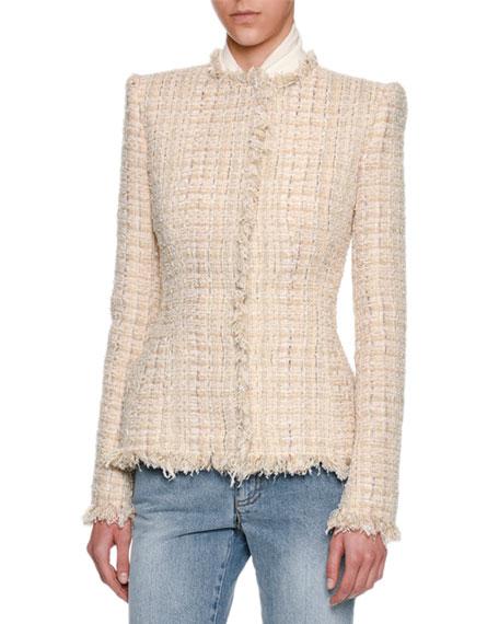 Metallic Tweed Fringe-Trim Jacket, Ivory