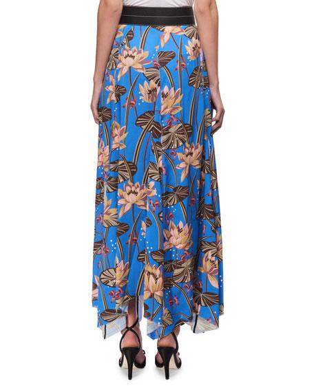 Floral-Print Maxi Skirt w/Leather Waist, Blue Pattern