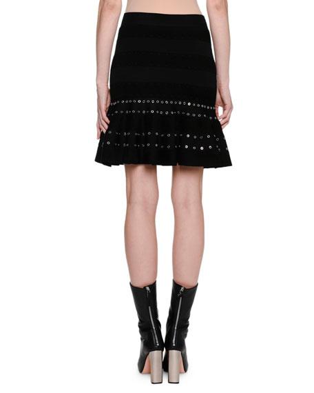 Chenille Miniskirt with Eyelet Trim, Black