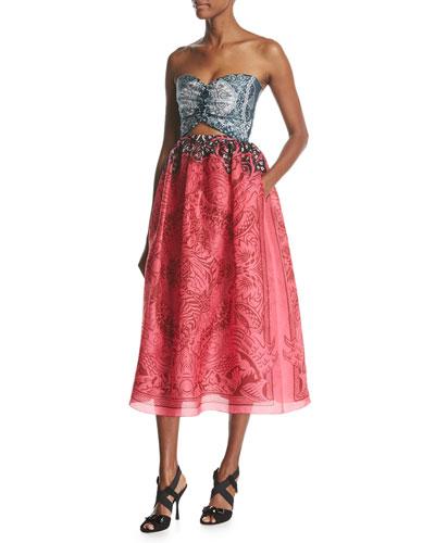 Strapless Cutout Organza Midi Dress, Pink Pattern