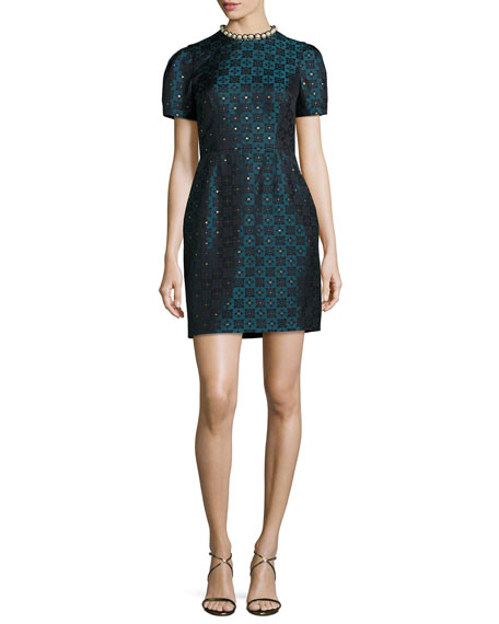 Mary Katrantzou Short-Sleeve Diamond Jacquard Dress, Blue