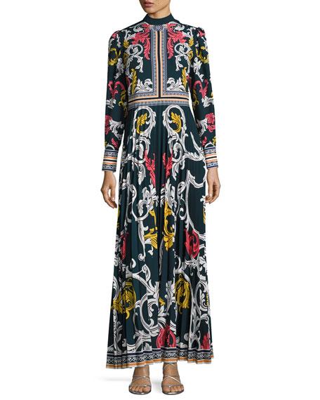 Long-Sleeve Scroll-Print Maxi Dress, Blue Pattern