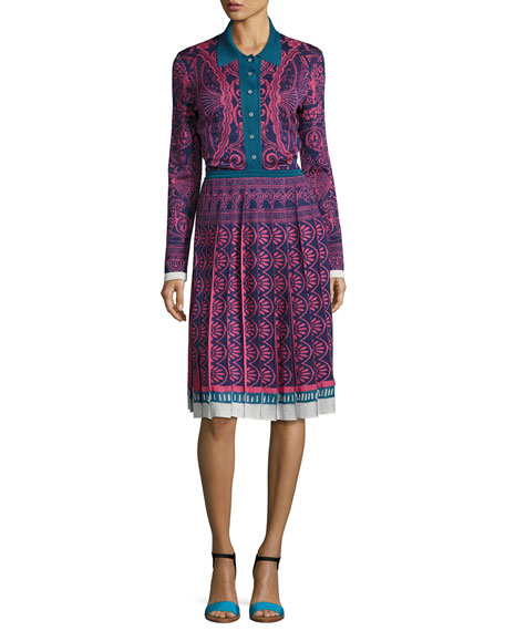 Knit Jacquard Button-Front Sweaterdress, Pink/Blue