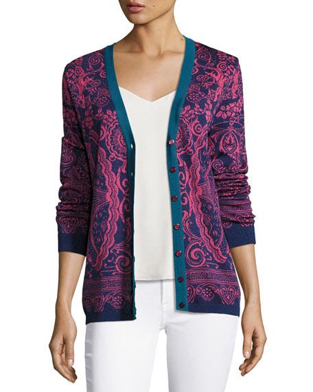Jacquard Knit Cardigan, Pink/Blue