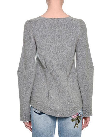 Knit High-Low Cashmere Sweater, Gray
