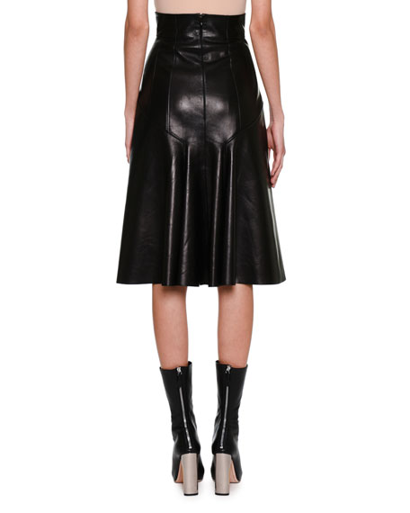 High-Waist Plongé Leather Skirt, Black