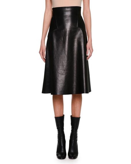 High-Waist Plongé Leather Skirt, Black