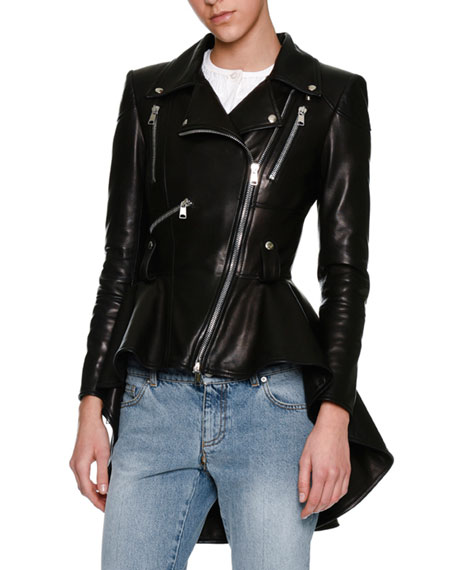 Alexander McQueen Leather Moto Peplum Jacket, Black