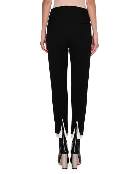 High-Waist Double Contrast-Hem Cigarette Pants