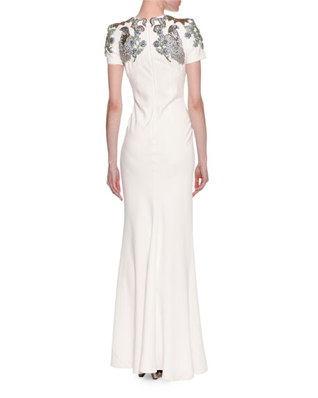 Medieval Floral-Encrusted Short-Sleeve Gown, Ivory