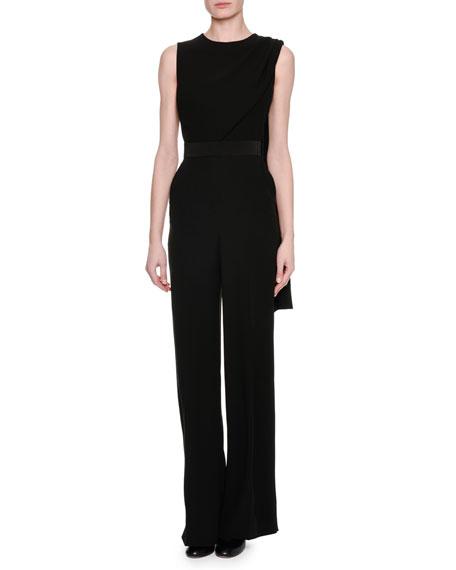 Sleeveless Scarf Jumpsuit, Black
