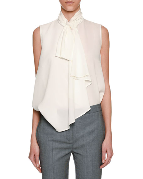 Sleeveless Georgette Cascade Blouse