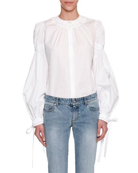 Poplin Tie-Cuff Blouse, White