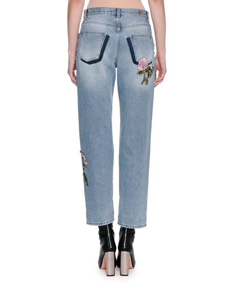 Embroidered Denim Ankle Jeans, Blue
