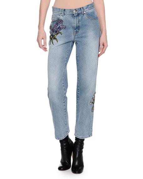 Alexander McQueen Embroidered Denim Ankle Jeans, Blue