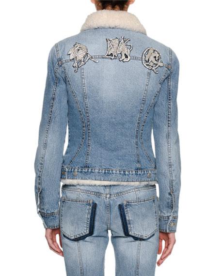 Shearling-Lined Denim Jacket, Blue