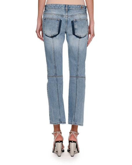 Cropped Denim Kickback Jeans, Blue