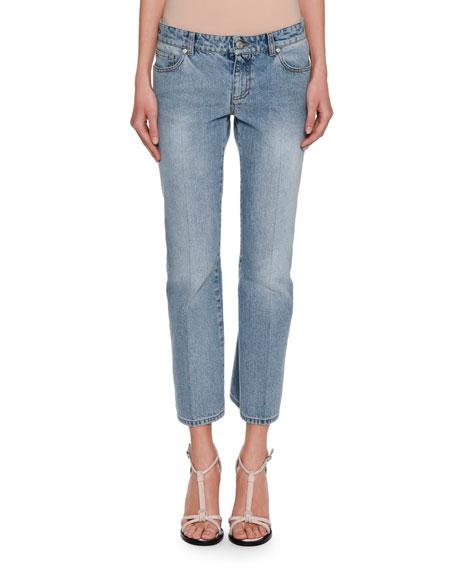 Alexander McQueen Cropped Denim Kickback Jeans, Blue