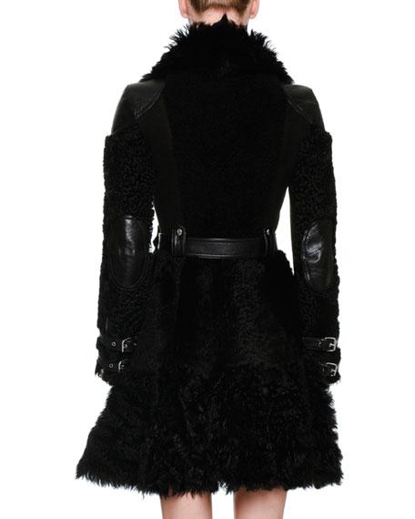Shearling Fur Biker Coat