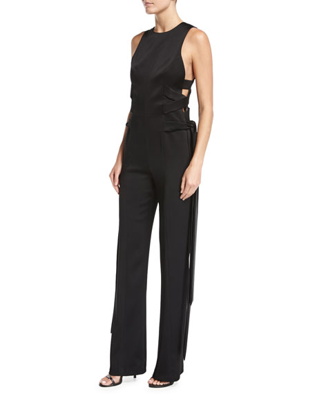 Laced-Up Satin Crepe Jumpsuit