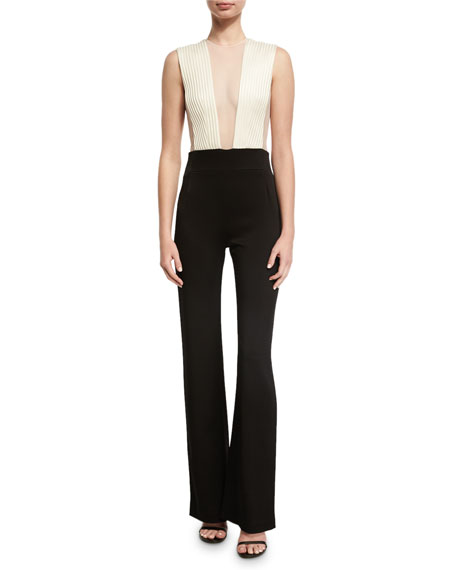 Plunging Illusion Tulle Jumpsuit, Black/White