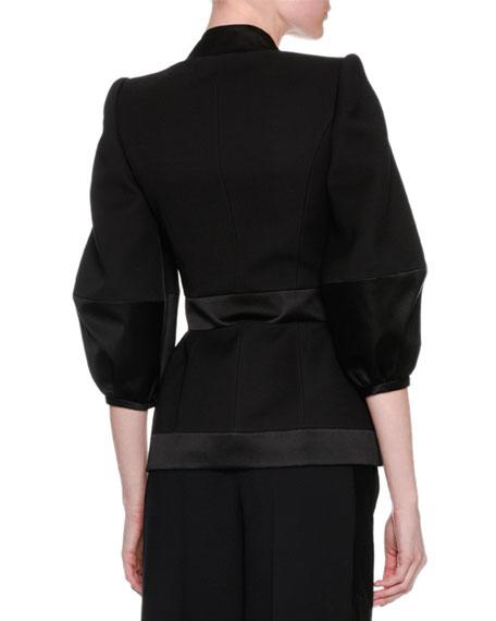 Satin-Trim Balloon-Sleeve Jacket, Black