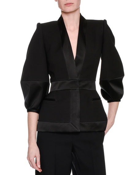 Alexander McQueen Satin-Trim Balloon-Sleeve Jacket, Black