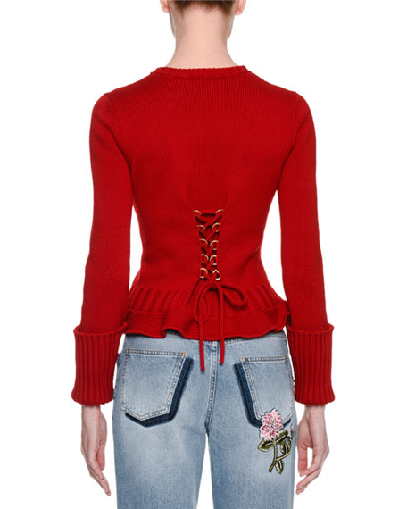 Knit Lace-Up Sweater, Red