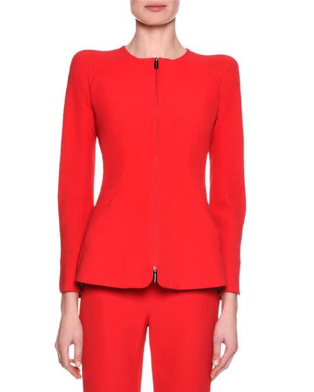 Collarless Zip-Front Silk Jacket, Pink