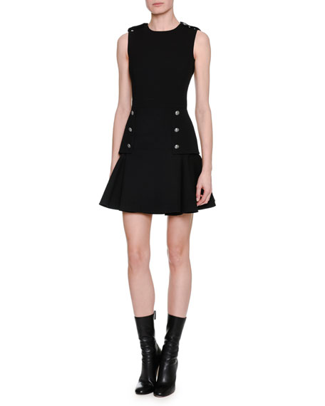 Sleeveless Military-Button Dress, Black
