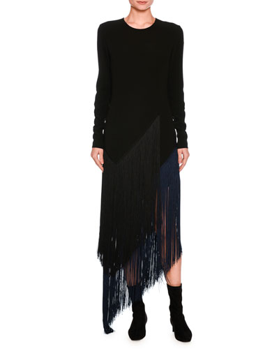 Fringe-Trim Asymmetric Midi Dress, Black