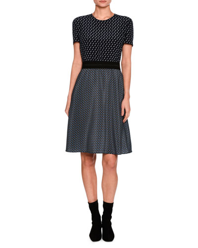 Tie-Print Short-Sleeve Dress, Black Pattern
