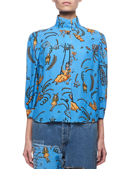 Printed High-Neck Blouse, Blue Pattern