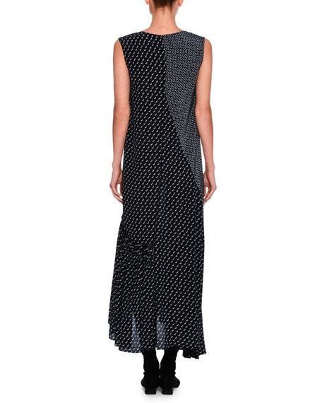 Dog-Print Patchwork Silk Maxi Dress, Navy