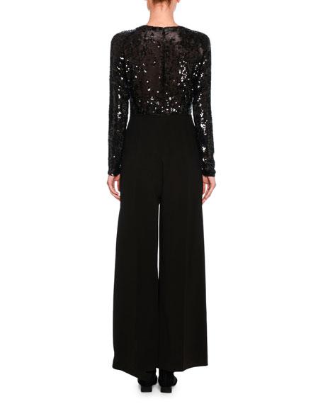 Long-Sleeve Sequined V-Neck Jumpsuit, Black
