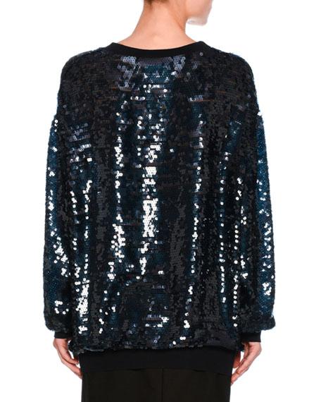 Sequined Cotton Sweatshirt, Navy