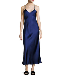Double-Face Silk Cami Gown, Dark Blue