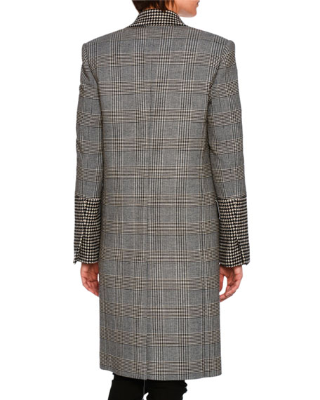 Prince of Wales Check Coat, Black Pattern