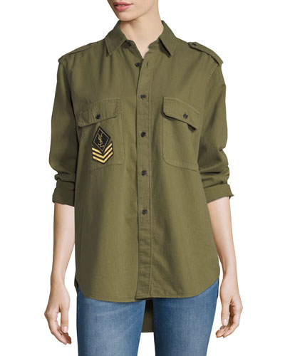 YSL Military Patch Blouse