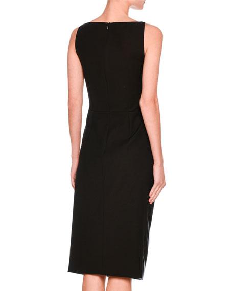 Sleeveless V-Neck Faux-Leather Dress, Black