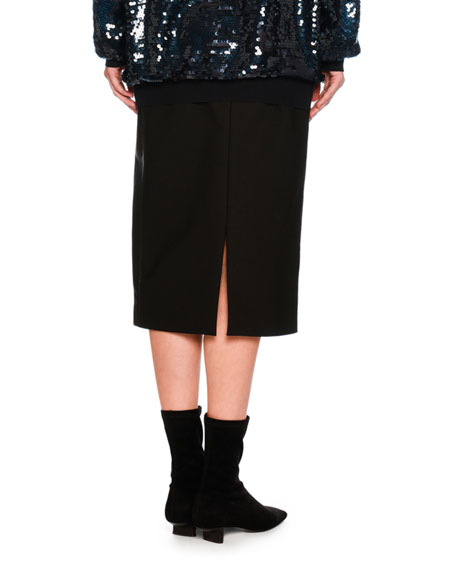 Faux-Leather Combo Pencil Skirt, Black