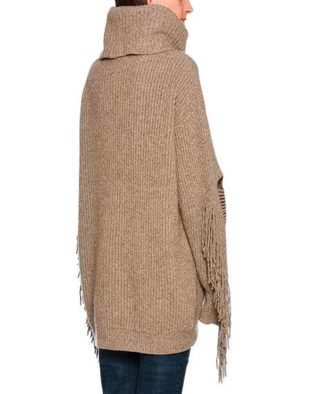 Oversized Fringe-Trim Turtleneck Sweater, Light Brown
